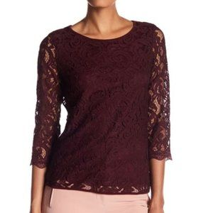 Adrianna Papell 3/4 Length Sleeve Lace Blouse